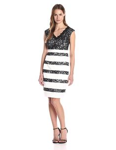 Jax Women's V-Neck Stretch Latin and Lace Stripe Sheath * Trust me, this is great! Click the image. : Women clothing