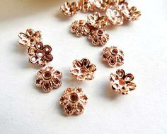 100 Rose Gold Plated Flower Bead Caps  18-RGBC-1 by TreeChild1