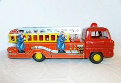1960s Marx Tin Litho Hook N Ladder Fire Truck with firemen Ladders