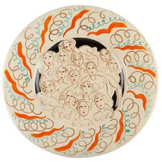 Clarice Cliff Charger with Fair Ladies Design by  Dame Laura Knight, 1934 | From a unique collection of antique and modern dinner plates at https://www.1stdibs.com/furniture/dining-entertaining/dinner-plates/