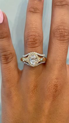 Catherine and Blanca are a perfect pairing. Catherine's low-profile contoured diamond band is a perfect match for Blanca's high-profile oval design. The diamond pavé band on Catherine goes well with Blanca's unique diamond halo which surrounds a stunning oval diamond center stone. Blanca also feature handcrafted and hand engraved design sprinkled with colored gemstones. See these two in more detail on our website! #kenanddanadesign #customdesign #nycjeweler #weddingringset #vintageinspired… Stacked Engagement Ring, Vintage Inspired Engagement Rings, Gemstone Engagement Rings, Gemstone Rings, Oval Diamond, Diamond Bands, Diamond Wedding Bands, Wedding Jewelry, Wedding Rings