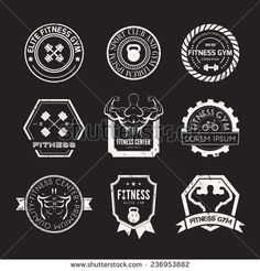 Set of different sports and fitness logo templates. Gym logotypes. Athletic labels and badges made in vector. Bodybuilder, fit man, athlete icon.