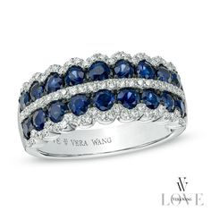 Vera Wang LOVE Collection Blue Sapphire and 1/3 CT. T.W. Diamond Double Row Anniversary Band in 14K White Gold - View All Rings - Zales