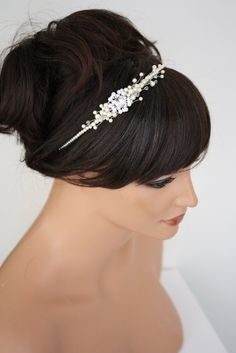 Simple wedding headband with Swarovski Pearl and Crystal, Wedding Hair Accessories, Mandy
