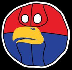 Kansas-inspired /r/CFBBall Ball Logo designed by /u/A-Stu-Ute! Stickers available now through Stickermule. #kansas #jayhawks #cfbball #collegefootball #rcfb #big12