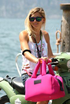 Giulia with our pink Neoprene Bag