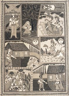 This piece depicts eight important sequences from the epic, Ramayana. It is indeed a story in pictures.