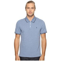 Original Penguin Vintage Gym Short Sleeve Sueded Jersey Polo (Bering... ($69) ❤ liked on Polyvore featuring men's fashion, men's clothing, men's shirts, men's polos, mens long sleeve shirts, mens embroidered shirts, mens long sleeve knit shirts, mens short sleeve polo shirts and mens suede shirt