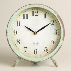 25 Decor Pieces Under $50 to Glam Up Any Room: WORLD MARKET LARGE AQUA CHARLIE CLOCK. This elegant little novelty makes any boring old side table look straight out of a magazine. ($18.74; World Market)