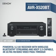 With #Bluetooth, #4K support, and 5 #HDMI inputs, the #Denon AVR-X520BT #AVreceiver is equipped to take care of all your #multimedia needs. #Onsale at Ooberpad: https://www.ooberpad.com/collections/audio-video-receivers/products/denon-avr-x520bt-5-2-channel-wireless-av-receiver | #sale #AV #audio #video