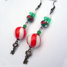Christmas Earrings   Santa s  Magic Key  Red and White