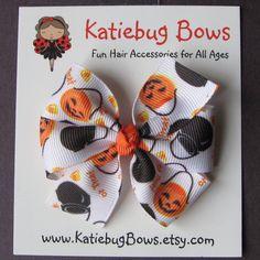 Medium 3 inch Pinwheel Hair Bow Pumpkins Cauldrons by KatiebugBows, $4.00