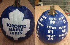 Best Pumpkin, Pumpkin Ideas, Maple Leafs Hockey, Hockey Party, Hockey Season, Toronto Maple Leafs, Montreal Canadiens, Halloween Pumpkins, Halloween Ideas