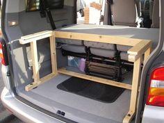 Bed in Shuttle/Caravelle? Home made.. - VW T4 Forum - VW T5 Forum Camper Beds, Car Camper, Mini Camper, Sprinter Camper, Rv Campers, Volkswagen Touran, Vw T4, T5 Kombi, Vw T5 Caravelle