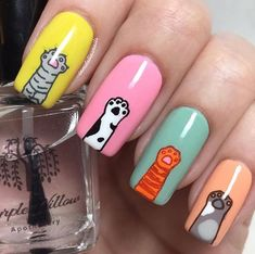 Happy Add some adorable paws and a pop of color to your next meownicure and make it extra cattastic! We love these cat nails by Nails For Kids, Girls Nails, Stylish Nails, Trendy Nails, Cat Nail Designs, Nail Designs For Kids, Nail Drawing, Nagellack Design, Cat Nails