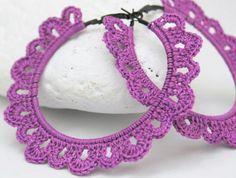 Crochet hoop earrings  Crochet jewelry  Big earrings by lindapaula, €12.00 Pendientes, aretes, zarcillos de ganchillo.