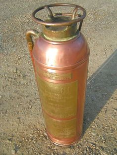 OLD Antique COPPER brass Kontrol FIRE Extinguisher