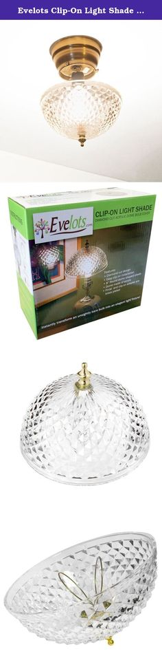 "Evelots Clip-On Light Shade - Diamond Cut Acrylic Dome Light Bulb Fixture 7.75"". Great for closets, hallways, basements, garages, attics, bedrooms, family room, kitchens, dens, landings, etc. Instantly transform an unsightly bare bulb into an elegant light fixture. Add charm to any room with our diamond-cut, designed light shade. Decorative brass-plated knob. Absolutely no tools required. Seconds to install. 8"" round. Works with all standard size light bulbs. Comes in color box.*Evelots…"