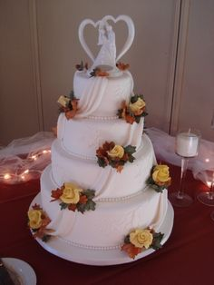 Fall Foliage Wedding Cake By ladybug23 on CakeCentral.com