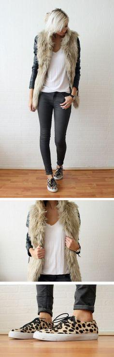 furry vest + sneakers