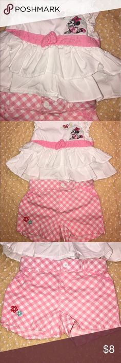 Disney Minnie Mouse Baby Outfit 12m This outfit is in great shape! Perfect little baby picnic outfit! No stains! No rips! No tears! All my clothes come from a smoke free home! Bundle for savings!!! 💜 Disney Matching Sets
