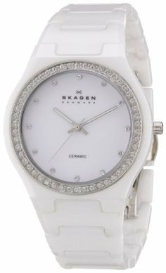 Skagen Women's 813LXWC Ceramic White Ceramic Crystal Watch Skagen. $112.48. Ceramic case. Water-resistant to 30 m (100 feet). Quartz movement. White ceramic bracelet. White dial