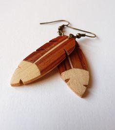 Boucle d'oreilles Plume en différents bois - Madouchka