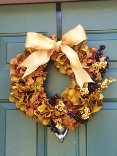Autumn Berry Wreath with Silk Hydrangeas and Bow on Etsy, $55.00