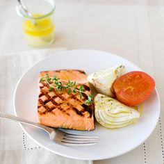 Grilled Salmon with Roasted Fennel and Tomatoes | Food & Wine A simpler version of Alfred Portale's.
