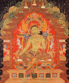 TIBET  Old_Green_Tara.  Les conquérants Mongols, déjà maîtres d'une partie de la Chine, obtiennent la suzeraineté sur le Tibet (xiie siècle-xviie siècle). L'école des Bonnets jaunes (fondée par Tsongkhapa) accroît son influence. C'est en son sein que se constitue l'institution des Dalaï-lamas, chefs religieux et temporels du Tibet. Voir la liste des dalaï-lamas et les écoles du bouddhisme tibétain.