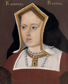 In this painting Catherine of Aragon, first wife of King Henry VIII, and mother of Mary I, wears a Kennel headdress. Also, known as a Gable hood, the front of this headdress was made of stiff material that was modeled after the shape of a Greek temple. The back of the headdress was usually made of velvet and completely covered the hair and the ears.