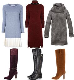 Store this idea away for Fall - skip tights and pair a sweater dress with high boots instead #stylingtip