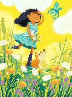 Illustration of a girl in field of flowers with dog and tiny dragon Kindergarten Drawing, Girls Characters, Children's Book Illustration, Summer Art, Painting For Kids, Cute Wallpapers, Hamilton, Character Design, Corgi