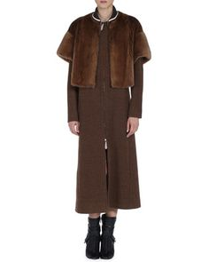 Long Wool Coat with Short-Sleeve Detachable Mink Fur Jacket by Fendi at Bergdorf Goodman.