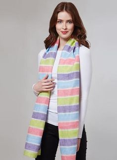 Blarney Irish Linen Bright Stripes Scarf: Handmade with care in Ireland, this scarf has been finely woven from Blarney Irish linen, and is a perfect accessory for spring. Irish Fashion, Woolen Mills, Striped Scarves, Gift For Lover, Summer Collection, Spring Fashion, Ireland, Stripes, Bright