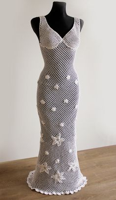 Honeymoon Beach Dress? I think yes.  Crochet Wedding Dress White  by Illiana on Etsy