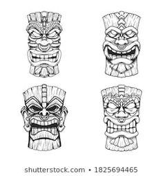 Hawaiian Flower Drawing, Totem Pole Tattoo, Native American Totem Poles, Tribal Tattoos Native American, Tiki Tattoo, Carved Wood Wall Art, Mask Drawing, Tiki Mask, Mask Tattoo