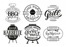 Collection of hand drawn text of grilled. Restaurant Steak, Restaurant Flyer, Real Estate Flyer Template, Business Flyer Templates, Bbq Ribs, Barbecue Grill, Leaflet Template, Grill Logo, Smoking Meat