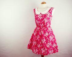 Red rose print dress cotton summer dress peter pan by luminia