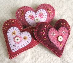 """It's been quite a while since I've made any of my """"Heart Felt Brooches"""". They're sweet little stuffed heart shaped pins made from felted,..."""