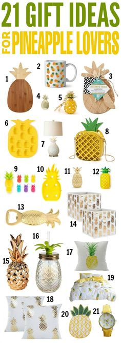 21 Gift Ideas for Pineapple Lovers I just had to put together a collection of gift ideas for pineapple lovers. has a great selection of gift ideas and these pineapple gifts are great for Birthdays, Christmas, and Housewarming gif Pineapple Gifts, Cute Pineapple, Pineapple Ideas, Pineapple Craft, 21st Gifts, Diy Gifts, Unique Gifts, Golf Gifts, Pineapple Kitchen