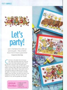 Party Animals 1/2 Cross Stitch Card Shop Issue 87 November/December 2012 Saved