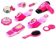 Susana's Salon '66 Pretend Play Toy Fashion Beauty Play Set w/ Working Cell Phone and Hair Dryer, Assorted Hair and Beauty Accessories -- You can get additional details at the image link.