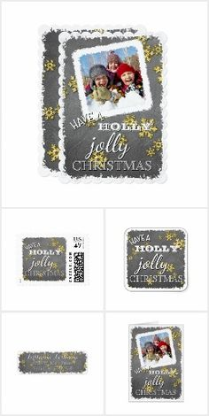 Unique, classic, fun...... and decorative seasonal December winter holiday design on a variety of pretty personable products. Cute 'Have A Holly Jolly Christmas' quote text written in typography on a trendy black and gray chalkboard and faux gold snow flakes stars pattern background. Several items of our collection have a snowy white square frame, making room to customize or personalize with photo of your choice. We wish you and your family Happy Holidays!