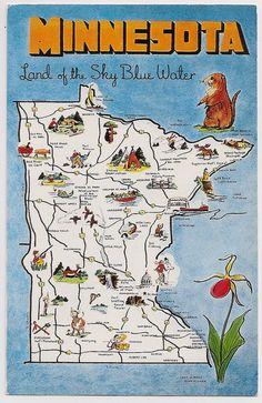 Retro Minnesota Tourist Map Souvenir Postcard