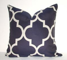 Set of Two - Designer Fabric Pillow Covers - Geometric Print - Navy Blue - inches - Lattice - Trellis - Sofa Pillow Cases - Throw Pillows - Accent Pillows and other furniture & decor products. Browse and shop related looks. Sofa Couch, Sofa Throw Pillows, Accent Pillows, Sofa Inspiration, Geometric Pillow, Geometric Fabric, My Living Room, Sofa Design, Fabric Design