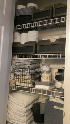 Open Bathroom Closet Organization Ideas - All About Open Bathroom, Linen Closet, Organizing Linens, Bathroom Closet Organization, Cupboard Storage, Linen Cupboard, Airing Cupboard, Bathroom Closet, Hall Closet