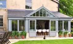 Bespoke garden room for Listed Building from David Salisbury painted in Pennant Stone Edwardian Conservatory, Orangery Conservatory, Conservatory Design, Garden Room Extensions, House Extensions, Orangerie Extension, Contemporary Garden Rooms, Period Living, Listed Building
