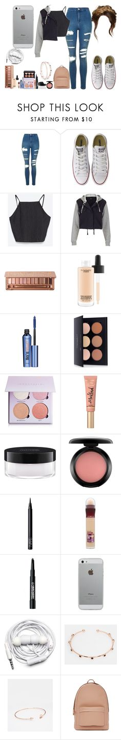"""""""untitled498"""" by abbeyy08 ❤ liked on Polyvore featuring Topshop, Converse, Zara, Urban Decay, MAC Cosmetics, Benefit, Anastasia Beverly Hills, Too Faced Cosmetics, NARS Cosmetics and Maybelline"""