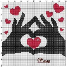 Amor hands and heart Wedding Cross Stitch Patterns, Cross Stitch Designs, Pixel Art Coeur, Loom Beading, Beading Patterns, Cross Stitching, Cross Stitch Embroidery, Graph Paper Art, Cross Stitch Heart